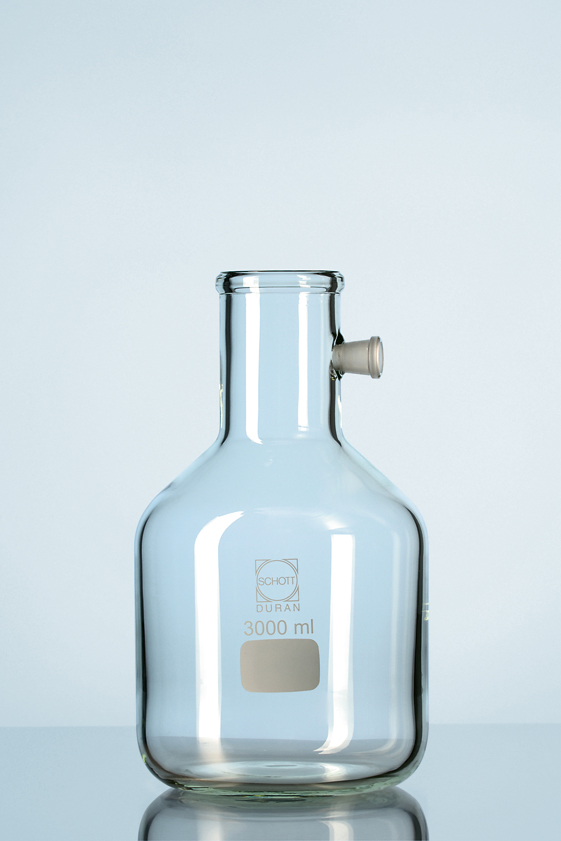 Vacuum-erlenmeijer, (flesvorm) met tubus