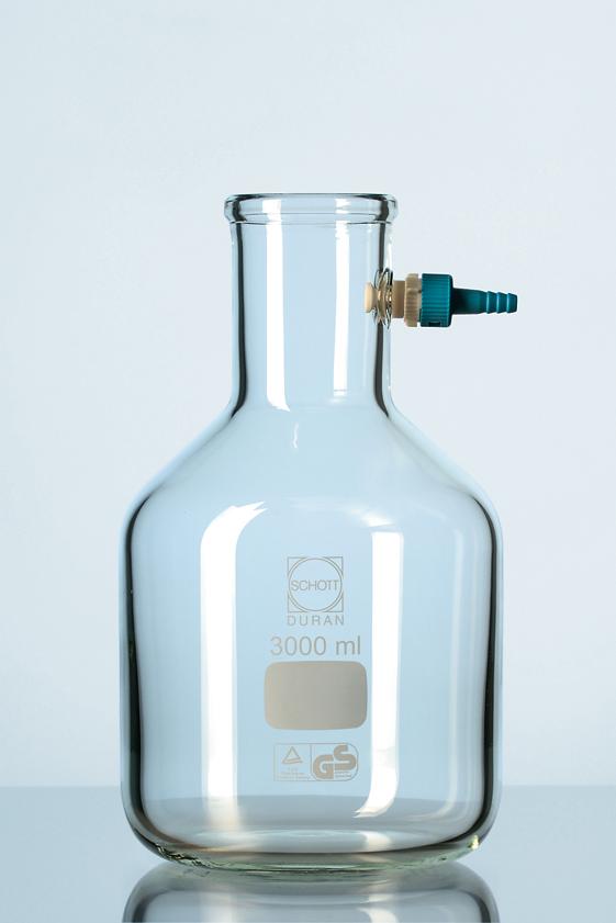 Vacuum-erlenmeijer, (flesvorm, met kunststof olive