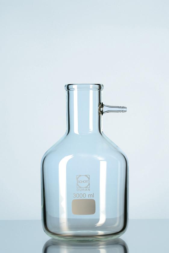 Vacuum-erlenmeijer, (flesvorm) met glasolive